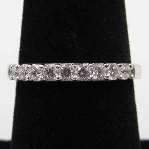 Vintage Size 7 Sterling CZ Diamond Band Ring